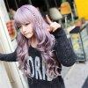 korean women wigs with bangs cheaps full taro wig curly long light purple wig natura