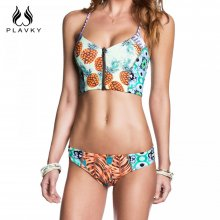 2017 Female Sexy Pineapple Swimsuit Zipper Corset Biquini Thong Swim Wear Bathing