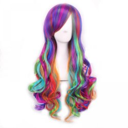 "Fashion Women 28"" long curly synthetic hair anime cosplay wig rainbow color ,kanekal"