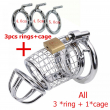 steel chastity cage stainless steel mens chastity belt men Include 3 penis ring