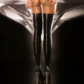 Sexy Zipper Black Imitation Leather Style High Stockings Sexy Silk Stockings Night