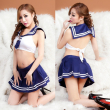 New sexy Student Uniform Lingerie Hot Erotic School Blue Plaid Tie+Mini Skirt Girl Costumes Sexy Temptation Women Underwear