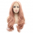 Aurica Fashion Pink Long Bodywave Synthetic Lace Front Women Wig