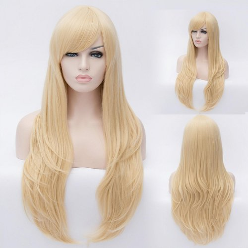 80cm Cosplay Fashion Wig Long Curly Light Blonde Wig Synthetic Resistant Hair Young