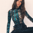 snake skin grain Print Bodysuit Women Tops Long Sleeve Autumn Winter Turtleneck Slim Bodysuits Rompers Womens Jumpsuits