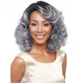 Women's Synthetic Wigs Curly Wig Medium Black/Grey Hair Wig
