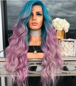 Ombre Hair Color Long Wavy 100% Human Hair Full Lace Wig