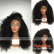 Kinky Curly Synthetic Lace Front Wig Black Color Brazilian 8A Grade Wig 180 Densit