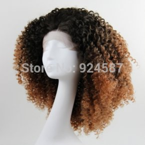 Fashion Ombre Brown #2/30 Loose Kinky Curly Synthetic Lace Front Wig Glueless Short