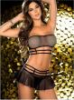 1Set Women Sexy Lingerie Corset Babydoll G-string Push Up Top Bra+Pants Set Sleepwear Underwear Nightwear Dress black