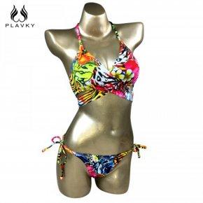 PLAVKY 2017 Sexy Floral Cross Bandage Halter Biquini String Swim Bathing Suit Plus
