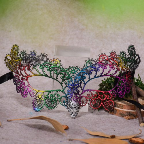 PMYUMAO Lady Sexy Queen Masks Halloween Lace Mask Cosplay Colorful Fashion Half