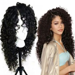 Top Quality Fiber Loose Curly Wigs Synthetic Lace Front Wigs 150% Density Black