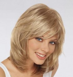 2016 New Fashion Blonde Color Medium Straight Bob Hairstyle Synthetic Hair Wigs