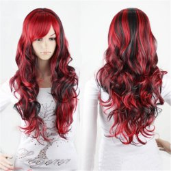 long black and red wig ombre pastel wig highlights 2 color resistant synthetic