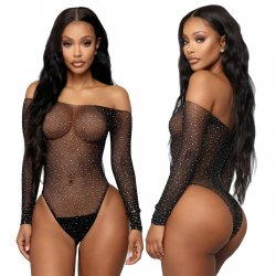 Crystal Fishnet Crotchless Bodystocking