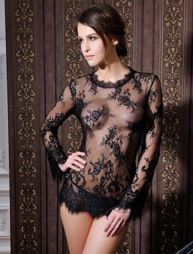 RI80215 Unique Sexy Babydoll Black Transparent Lace Erotic Costume Long Sleeve Top