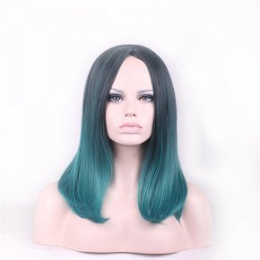 harajuku hair woman wig cap natural medium length wigs straight black green wig