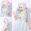 long lolita wig ponytails pink blue beige rainbow wigs women hair resistant full