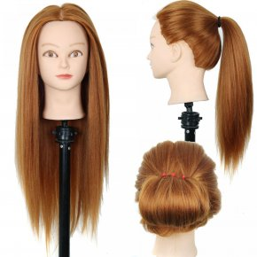 "New 24"" Hairdressing Practice Training Head Yaki Synthetic Hair Doll Cosmetolog"