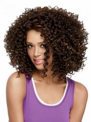 Two tones ombre medium long Fashion Loose Kinky Curly Synthetic Resistant Hair