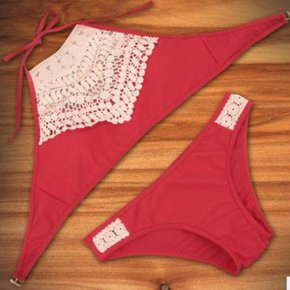Vertvie Women Sexy Harness Halter Split Bikinis Swimwear Wine Red Black Tassel Patte