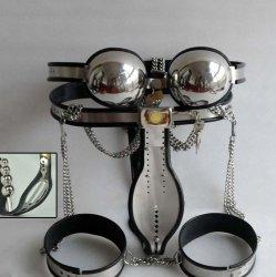 4 pcs/set stainless steel male chastity belt device,chastity pants bra anal plug