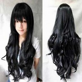 Hot sale cheap long wavy anime Silver/grey/red 12colors cosplay wig,kanekalon fibre