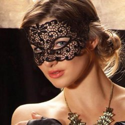 1PC Women Black Sexy Lace Mask Cutout Eye Mask for Halloween Masquerade Party Dress