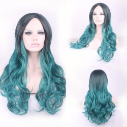 cheap beautiful soft korean sexy long black green wig resistant women hair wigs