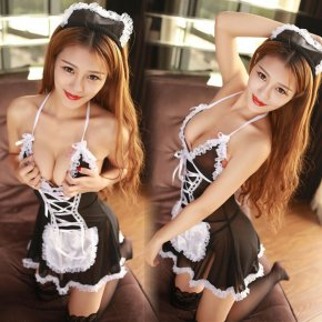 2017 Babydoll Sexy Underwear New Women Sexy Lingerie Hot Lace Maid Hat lingerie