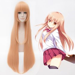 100CM Anime Himouto! Umaru-chan Himoto! Wig Light Orange Long Straight Synthetic