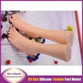 size 39 silicone fake women legs Foot Fetish silk stocking fetish feet worship Adult