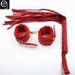 EJMW 2Pcs/Set Sex Product Leather Whip Sex Flogger Leather Handcuffs For Sex Hand