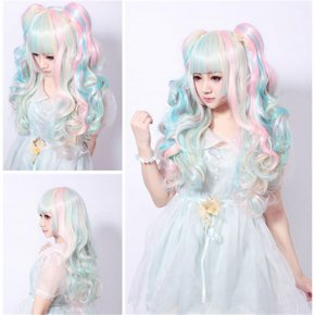 long lolita wig ponytails pink blue beige rainbow wigs women hair resistant full