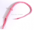 85cm Pink/Black braided suede leather whip, leather Horse whip, flirting leather