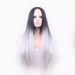 70cm Long Black To Gray Ombre Hair Cosplay Wigs Synthetic Hair Resistant Straight