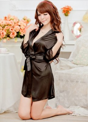 Women Sexy Silk And Lace Kimono Dressing Gown Bath Robe Babydoll Lingerie + G-String
