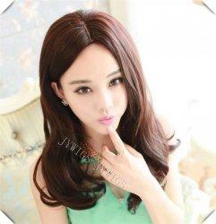 1B Resistant Middle Part Synthetic Women Long Wavy Wig Midsplit Full Wigs Fast
