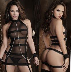 Cosplay Black Transparent Bra Sets