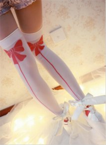 Princess Sweet lolita stockings Japanese harajuku girls white translucent red bowkno