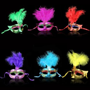 Multi Color Feather PVC Princess Mask Sexy Hallowmas Venetian Bauta Mask Half Face