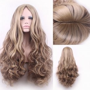 75cm Fashion Sexy Long Big Curly Wavy Cosplay Central Parting Women Wigs Hair Wig
