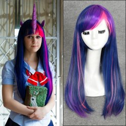 60cm Blue Pink Long Straight Anime My Little Pony Twilight Sparkle Cosplay Harajuku