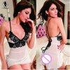 2017 New lace splice V-neck babydoll sexy lingerie hot straps cross bundled backless