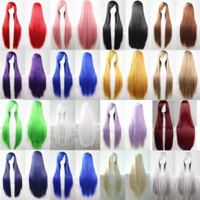 women wigs green black orange pink long straight wig cosplay 80 cm wig grey blonde