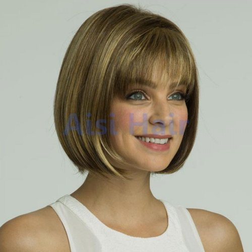 "12"" Short Straight Bob Wig With Thin Air Bangs for American Women Cheap Synthetic"
