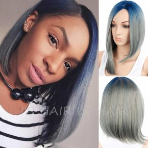 Short Ombre Color Bob Wig Synthetic Short Straight Bob Cut Wigs Resistant Short