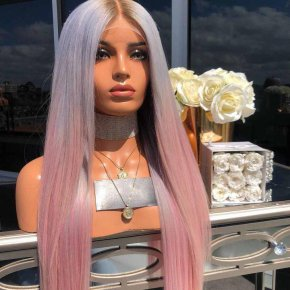 2 tone Without Bangs Straight Long Lace Front Wigs