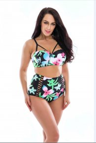 2017 New Floral Print High Waist Swimsuit Push Up Bikini Plus Size Swimwear Women